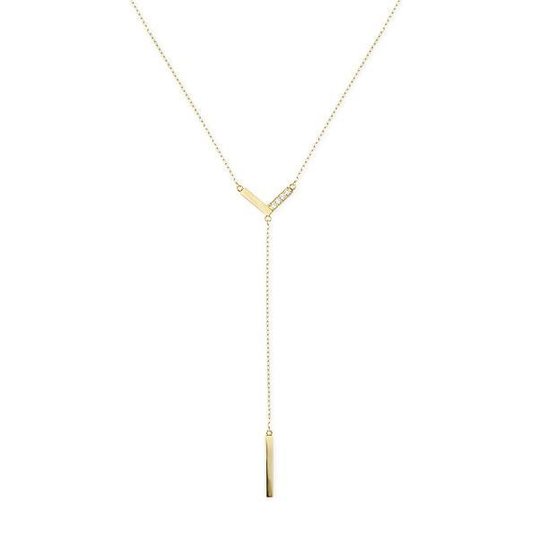 ツツミ ネックレス K10 イエローゴールド ダイヤモンド Y字 ネックレス バー Vライン シンプル