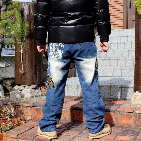 和柄 ジーンズ 大きいサイズ デニムパンツ 刺繍 メンズ 花魁 2018年新作 [TJ11-187] tsutsumiya 02
