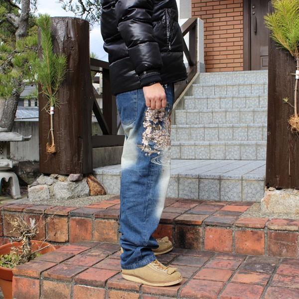 和柄 ジーンズ 大きいサイズ デニムパンツ 刺繍 メンズ 花魁 2018年新作 [TJ11-187] tsutsumiya 04