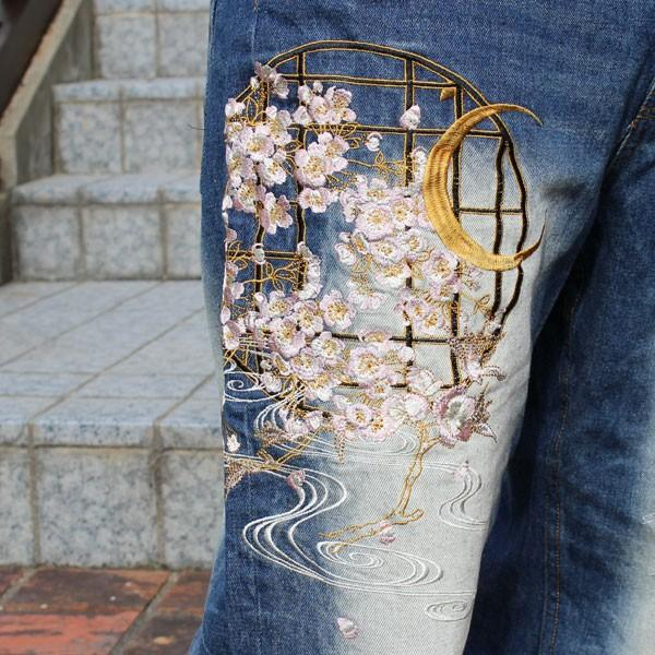 和柄 ジーンズ 大きいサイズ デニムパンツ 刺繍 メンズ 花魁 2018年新作 [TJ11-187] tsutsumiya 06