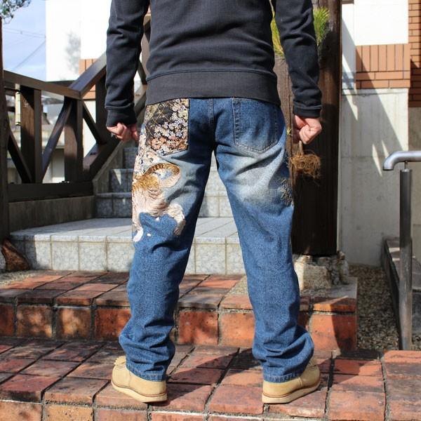 和柄 ジーンズ 大きいサイズ デニムパンツ 刺繍 メンズ 虎 鶴 [TJ701812B]|tsutsumiya|02