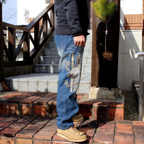 和柄 ジーンズ 大きいサイズ デニムパンツ 刺繍 メンズ 虎 鶴 [TJ701812B]|tsutsumiya|04