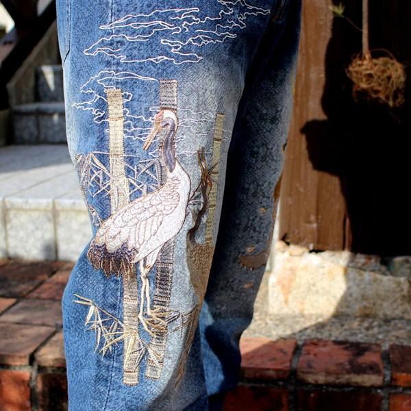 和柄 ジーンズ 大きいサイズ デニムパンツ 刺繍 メンズ 虎 鶴 [TJ701812B]|tsutsumiya|05