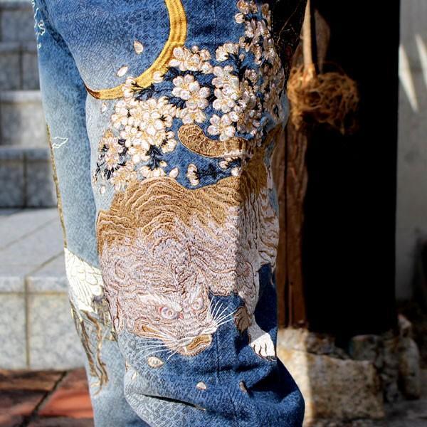 和柄 ジーンズ 大きいサイズ デニムパンツ 刺繍 メンズ 虎 鶴 [TJ701812B]|tsutsumiya|06
