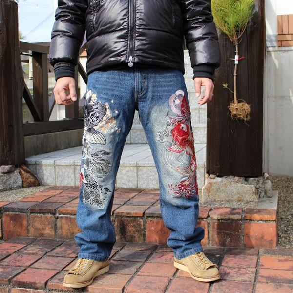 和柄 ジーンズ 大きいサイズ デニムパンツ 刺繍 メンズ 鯉 金魚 [TJ901812B]|tsutsumiya