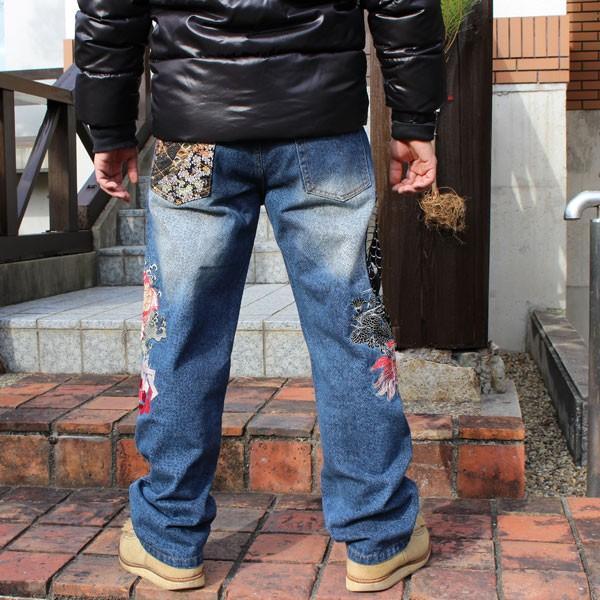 和柄 ジーンズ 大きいサイズ デニムパンツ 刺繍 メンズ 鯉 金魚 [TJ901812B]|tsutsumiya|02