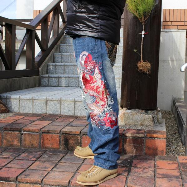 和柄 ジーンズ 大きいサイズ デニムパンツ 刺繍 メンズ 鯉 金魚 [TJ901812B]|tsutsumiya|03