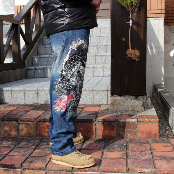 和柄 ジーンズ 大きいサイズ デニムパンツ 刺繍 メンズ 鯉 金魚 [TJ901812B]|tsutsumiya|04