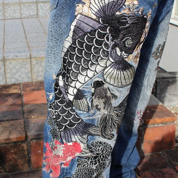 和柄 ジーンズ 大きいサイズ デニムパンツ 刺繍 メンズ 鯉 金魚 [TJ901812B]|tsutsumiya|06
