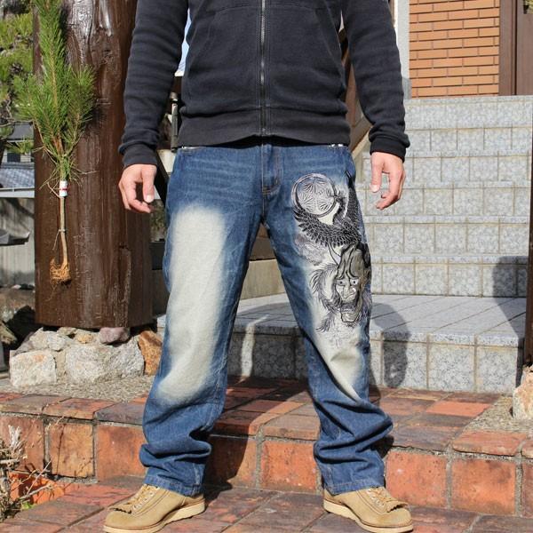 和柄 ジーンズ 大きいサイズ デニムパンツ 刺繍 メンズ 般若 [TJ9-187]|tsutsumiya