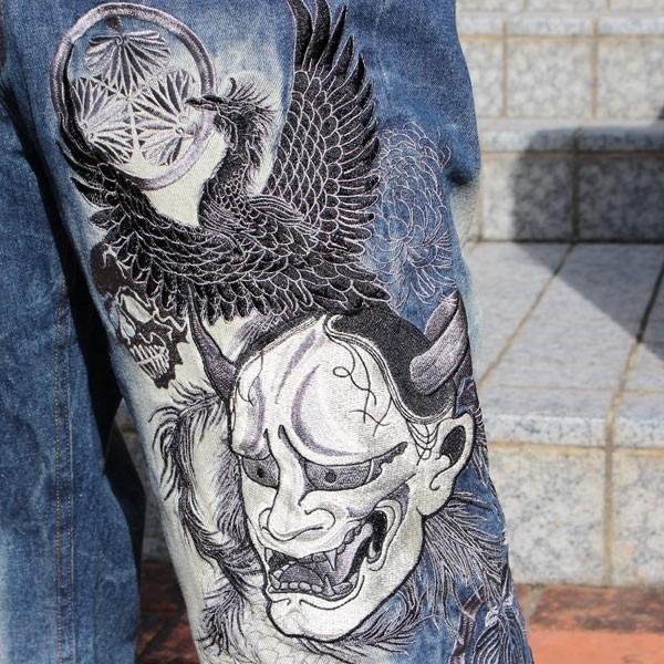 和柄 ジーンズ 大きいサイズ デニムパンツ 刺繍 メンズ 般若 [TJ9-187]|tsutsumiya|04