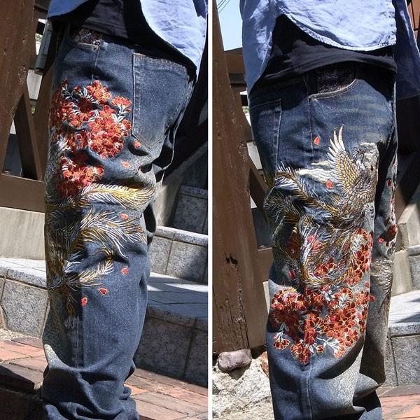 和柄 ジーンズ 大きいサイズ デニムパンツ 刺繍 メンズ 般若 [TJ9-187]|tsutsumiya|05