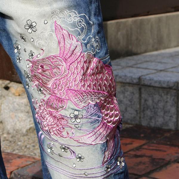 和柄 ジーンズ 大きいサイズ デニムパンツ 刺繍 メンズ 双鯉 [TJ10-187]|tsutsumiya|05