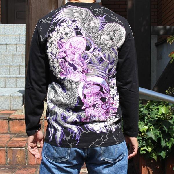 和柄 Tシャツ 長袖 メンズ 風神雷神 刺繍 大きいサイズ|tsutsumiya