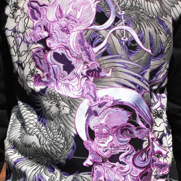 和柄 Tシャツ 長袖 メンズ 風神雷神 刺繍 大きいサイズ|tsutsumiya|03