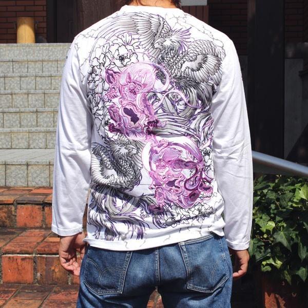 和柄 Tシャツ 長袖 メンズ 風神雷神 刺繍 大きいサイズ|tsutsumiya|04