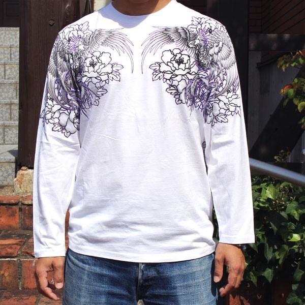 和柄 Tシャツ 長袖 メンズ 風神雷神 刺繍 大きいサイズ|tsutsumiya|05