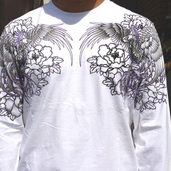 和柄 Tシャツ 長袖 メンズ 風神雷神 刺繍 大きいサイズ|tsutsumiya|06