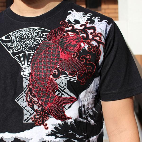 和柄 Tシャツ 半袖 刺繍 メンズ 大きいサイズ 双鯉 (赤/黒) 2018年新作|tsutsumiya|03