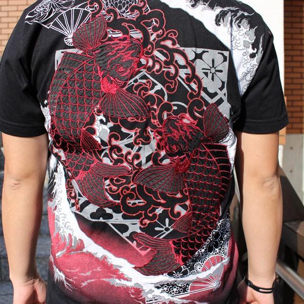 和柄 Tシャツ 半袖 刺繍 メンズ 大きいサイズ 双鯉 (赤/黒) 2018年新作|tsutsumiya|04