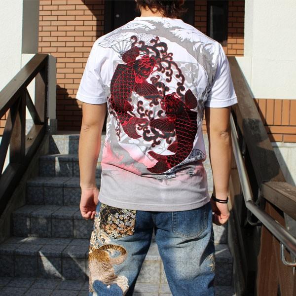 和柄 Tシャツ 半袖 刺繍 メンズ 大きいサイズ 双鯉 (赤/黒) 2018年新作|tsutsumiya|05