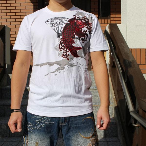 和柄 Tシャツ 半袖 刺繍 メンズ 大きいサイズ 双鯉 (赤/黒) 2018年新作|tsutsumiya|06