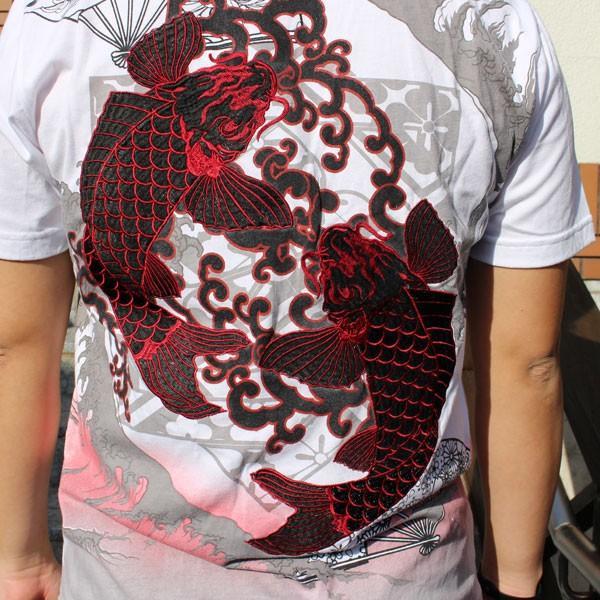 和柄 Tシャツ 半袖 刺繍 メンズ 大きいサイズ 双鯉 (赤/黒) 2018年新作|tsutsumiya|07