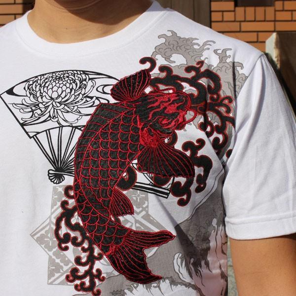 和柄 Tシャツ 半袖 刺繍 メンズ 大きいサイズ 双鯉 (赤/黒) 2018年新作|tsutsumiya|08