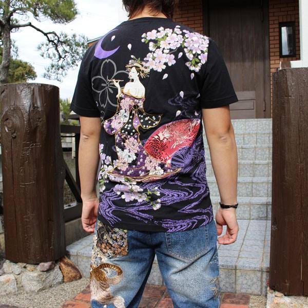 和柄 Tシャツ 半袖 刺繍 メンズ 大きいサイズ 花魁 2018年新作 tsutsumiya