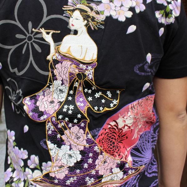 和柄 Tシャツ 半袖 刺繍 メンズ 大きいサイズ 花魁 2018年新作 tsutsumiya 04