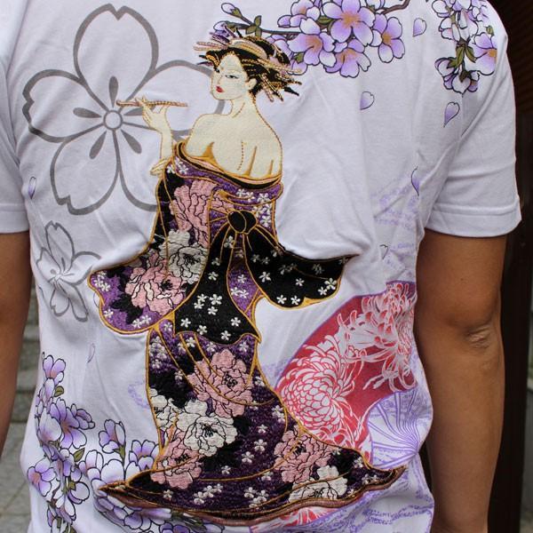 和柄 Tシャツ 半袖 刺繍 メンズ 大きいサイズ 花魁 2018年新作 tsutsumiya 07