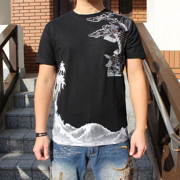 和柄 Tシャツ 半袖 刺繍 メンズ 大きいサイズ 双鯉 日章旗 2018年新作|tsutsumiya|02