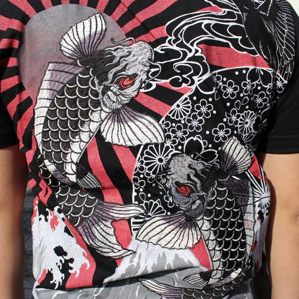 和柄 Tシャツ 半袖 刺繍 メンズ 大きいサイズ 双鯉 日章旗 2018年新作|tsutsumiya|04