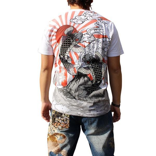 和柄 Tシャツ 半袖 刺繍 メンズ 大きいサイズ 双鯉 日章旗 2018年新作|tsutsumiya|05