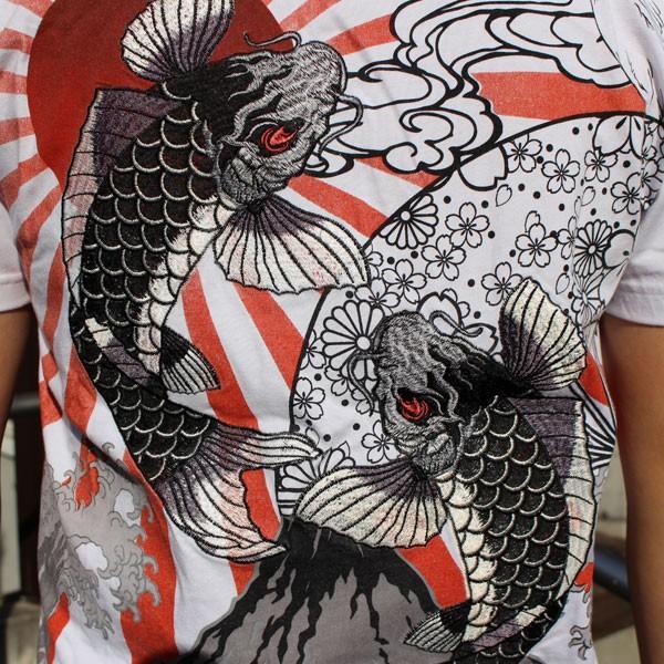 和柄 Tシャツ 半袖 刺繍 メンズ 大きいサイズ 双鯉 日章旗 2018年新作|tsutsumiya|07