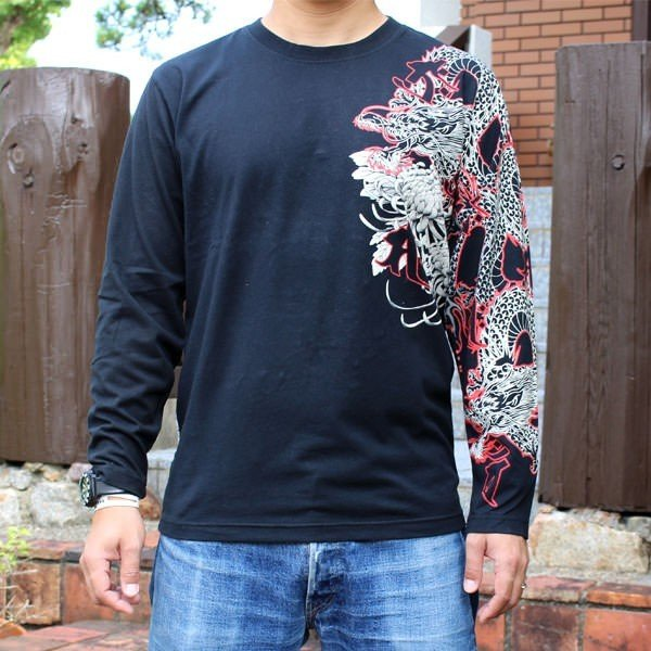 和柄 Tシャツ 長袖 メンズ 不動明王 刺繍 大きいサイズ|tsutsumiya|02