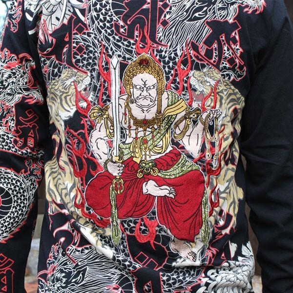 和柄 Tシャツ 長袖 メンズ 不動明王 刺繍 大きいサイズ|tsutsumiya|03