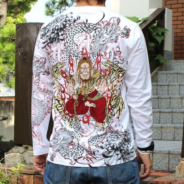 和柄 Tシャツ 長袖 メンズ 不動明王 刺繍 大きいサイズ|tsutsumiya|05