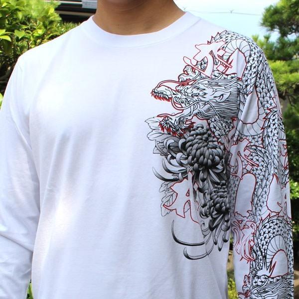 和柄 Tシャツ 長袖 メンズ 不動明王 刺繍 大きいサイズ|tsutsumiya|06