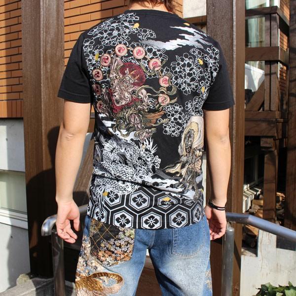 和柄 Tシャツ 半袖 刺繍 メンズ 大きいサイズ 怒風神雷神 2018年新作|tsutsumiya