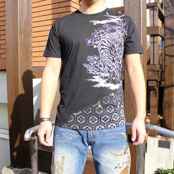 和柄 Tシャツ 半袖 刺繍 メンズ 大きいサイズ 怒風神雷神 2018年新作|tsutsumiya|02