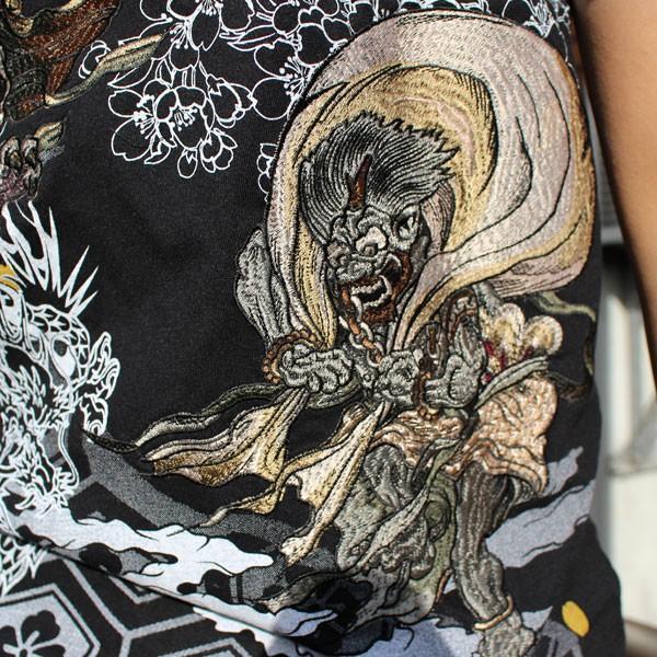 和柄 Tシャツ 半袖 刺繍 メンズ 大きいサイズ 怒風神雷神 2018年新作|tsutsumiya|04