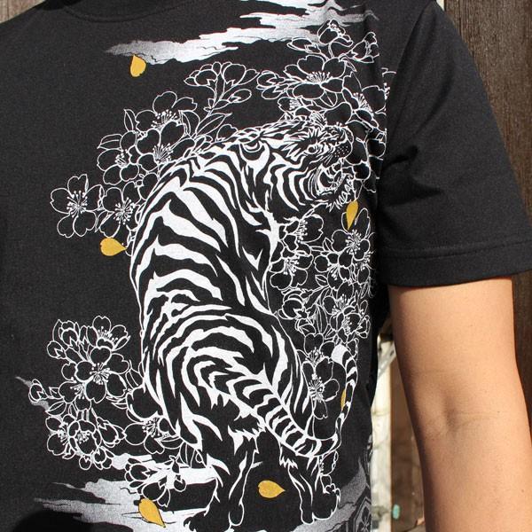 和柄 Tシャツ 半袖 刺繍 メンズ 大きいサイズ 怒風神雷神 2018年新作|tsutsumiya|05