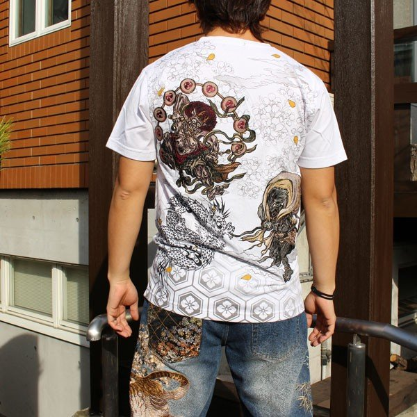 和柄 Tシャツ 半袖 刺繍 メンズ 大きいサイズ 怒風神雷神 2018年新作|tsutsumiya|06
