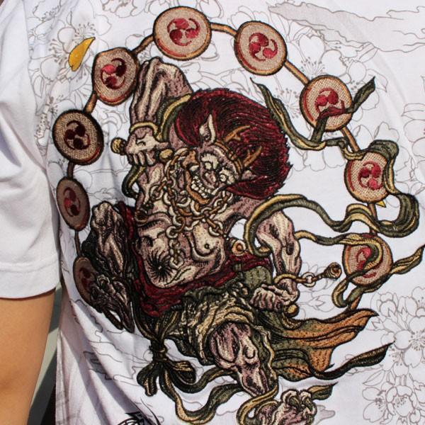 和柄 Tシャツ 半袖 刺繍 メンズ 大きいサイズ 怒風神雷神 2018年新作|tsutsumiya|08
