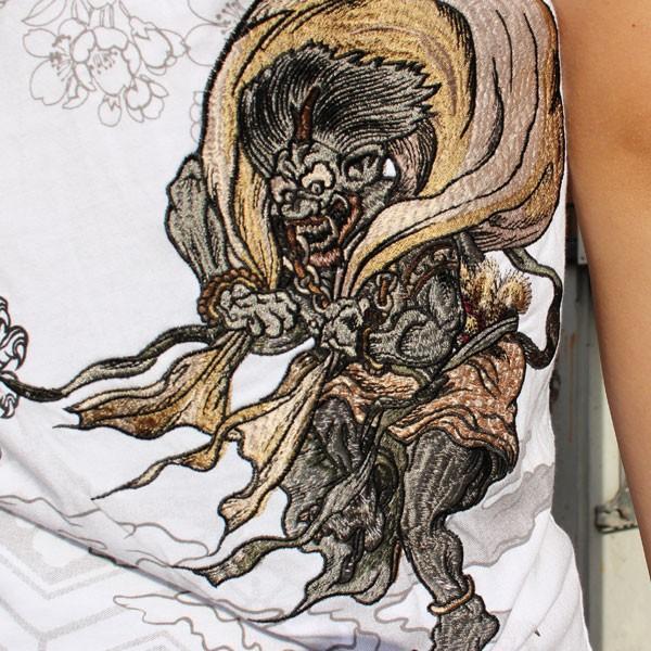 和柄 Tシャツ 半袖 刺繍 メンズ 大きいサイズ 怒風神雷神 2018年新作|tsutsumiya|09