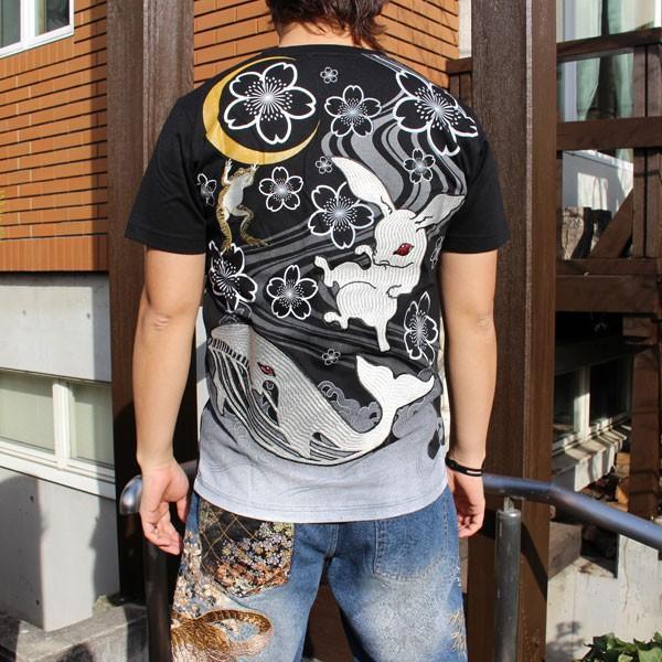 和柄 Tシャツ 半袖 刺繍 メンズ 大きいサイズ 兎 鯨 蛙 2018年新作|tsutsumiya