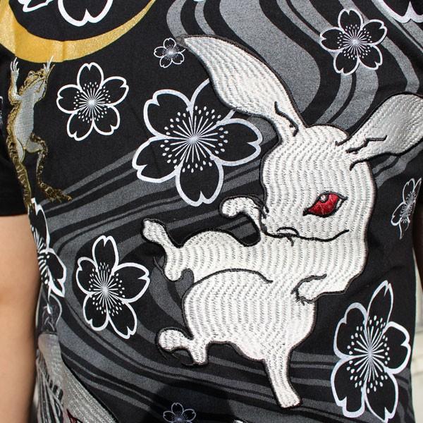 和柄 Tシャツ 半袖 刺繍 メンズ 大きいサイズ 兎 鯨 蛙 2018年新作|tsutsumiya|03