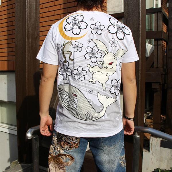 和柄 Tシャツ 半袖 刺繍 メンズ 大きいサイズ 兎 鯨 蛙 2018年新作|tsutsumiya|06