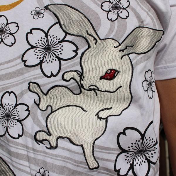 和柄 Tシャツ 半袖 刺繍 メンズ 大きいサイズ 兎 鯨 蛙 2018年新作|tsutsumiya|09